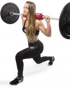 lunges with squat bar pad