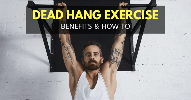 man doing dead hang exercise with pull up bar