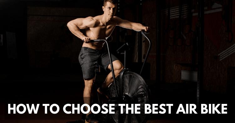crossfit man using air bike