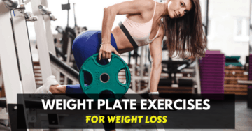 fitness woman doing exercise with a weight plate